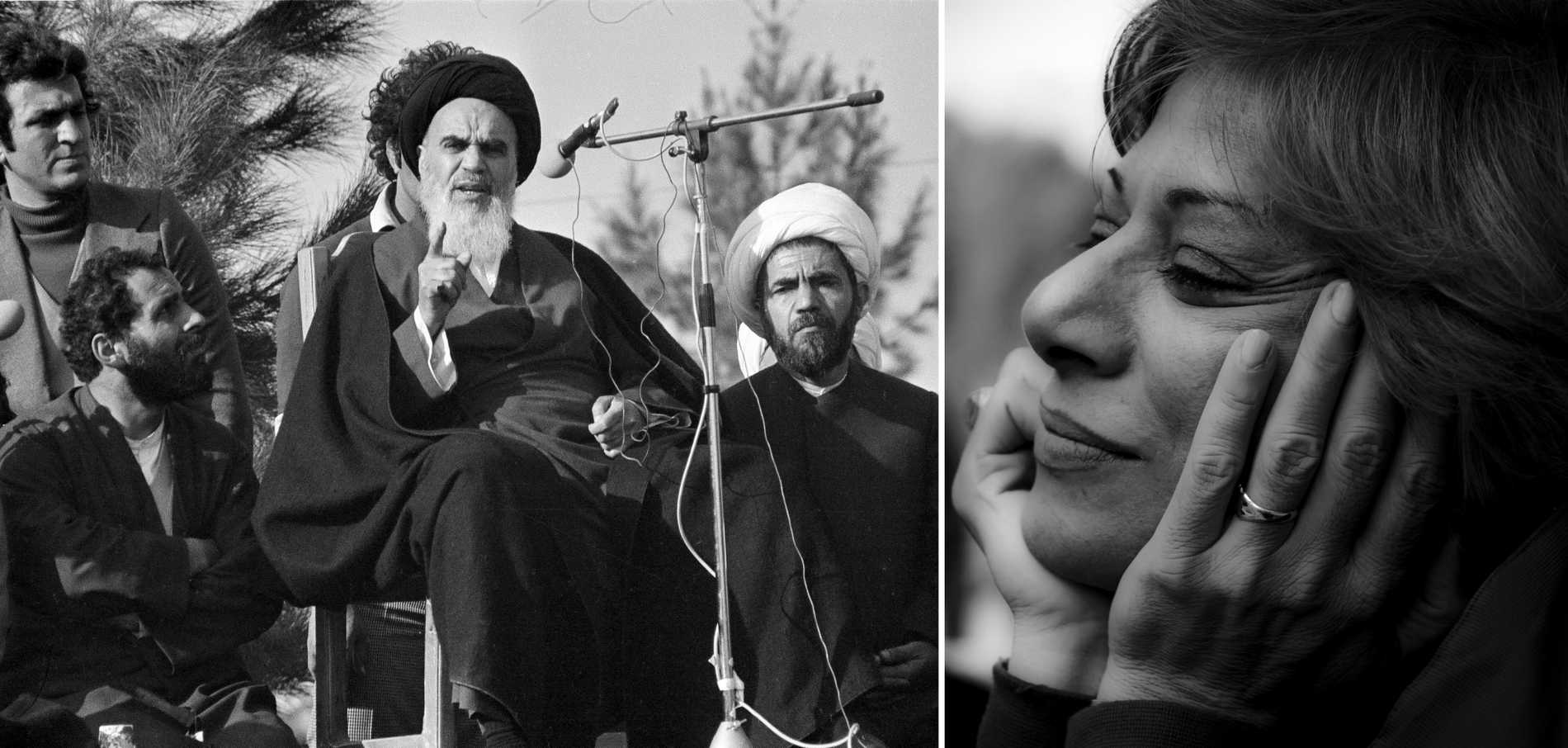 Ayatollah Khomeini efter återkomsten till Teheran 1979. Till höger: Parinoush Saniee.