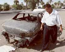 Förödelse efter en Blackwaterattack i Irak.