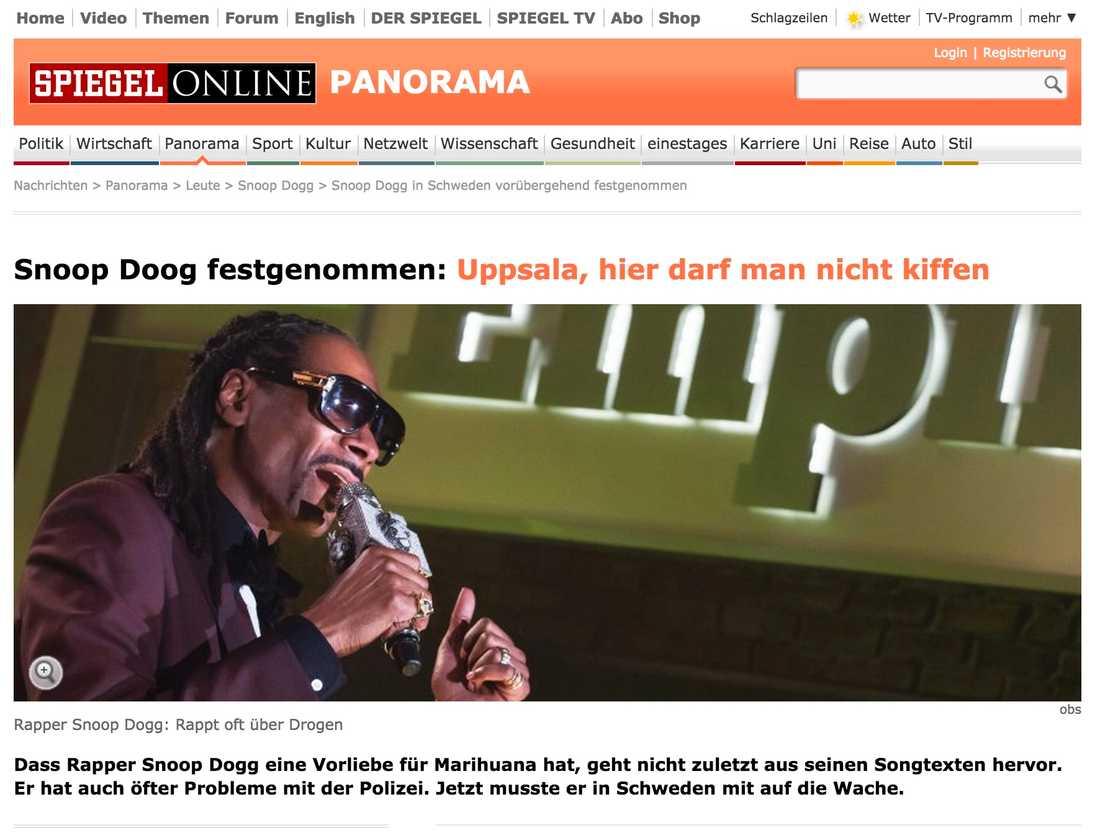 Der Spiegel Snoop Doog tagen av polis: Uppsala, här får man inte röka hasch