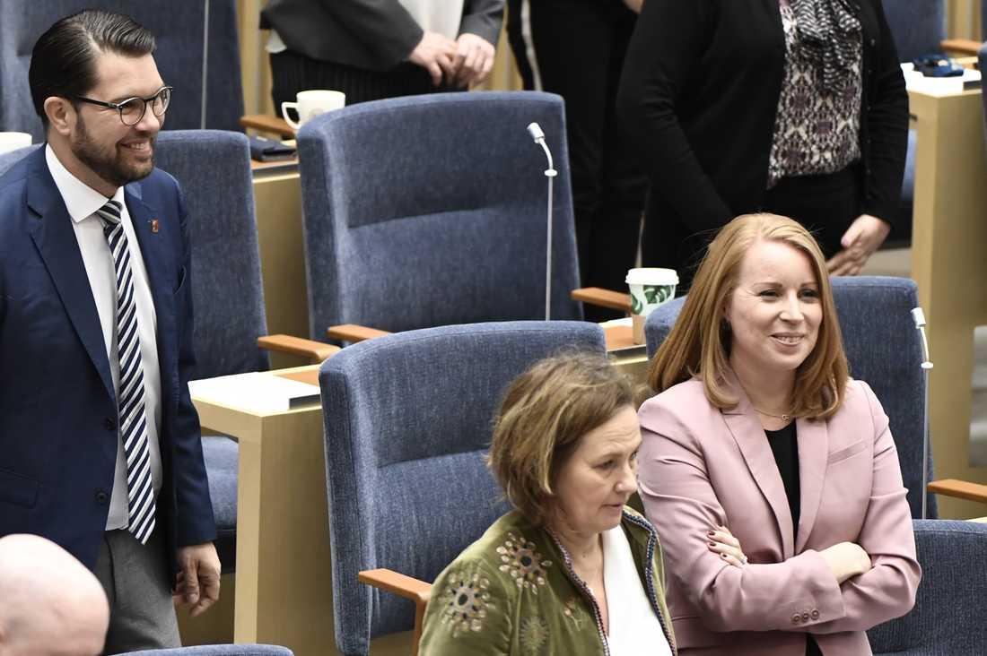 SD-ledaren Jimmie Åkesson och C-ledaren Annie Lööf.