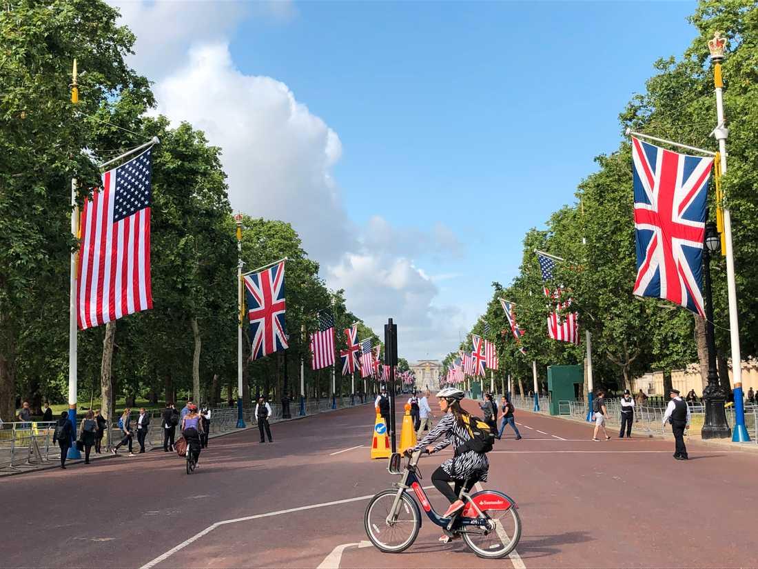 Gatan upp mot Buckingham Palace, The Mall, är pyntad med brittiska och amerikanska flaggor, som vanligt vid statsbesök.