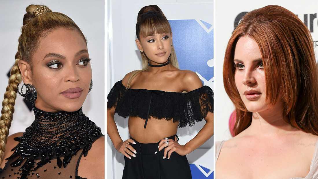 Lana Del Rey nämnde bland andra Ariana Grande (mitten) och Beyoncé i sitt kritiserade Instagram-inlägg.