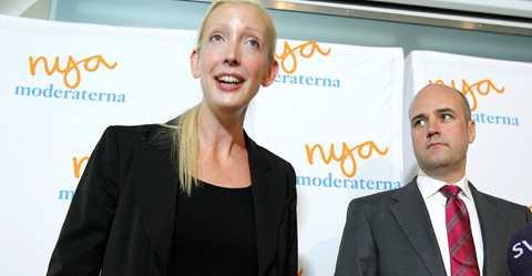 Partisekreterare Sofia Arkelsten (M) och statsminister Fredrik Reinfeldt (M).