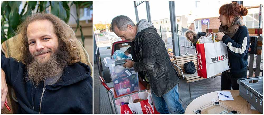 Kalle Palmgren är medlem i Kontrapunkts matgrupp. På lastkajen tar Johanna Anemalm emot en matleverans som matvolontären Ulf Carlsson levererar till lastkajen vid den matbank som just nu byggs upp av Kontrapunkt i Malmö. Mjölk, bröd, grönsaker och korv bortskänkes till alla som vill ha – varje dag. Så lyder mottot för den nya matbank som just nu byggs upp i Malmö. Målet? Att ingen ska behöva gå hungrig längre.