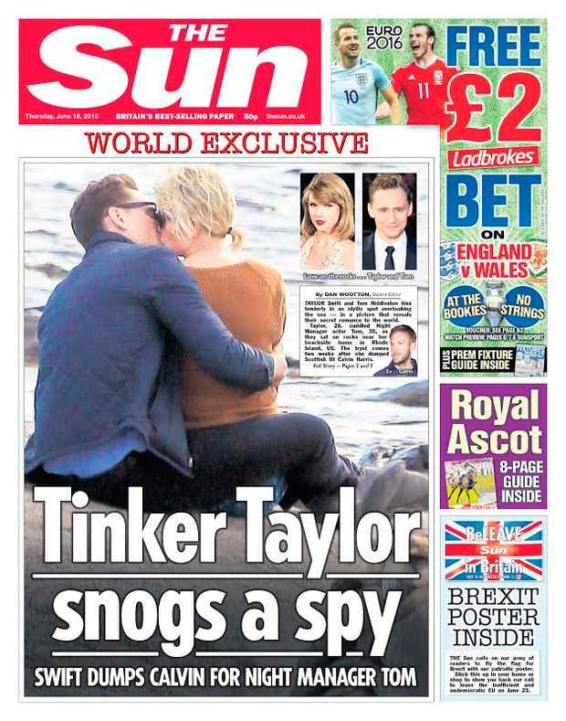 The Suns omslag på när paret inledde sin romans.