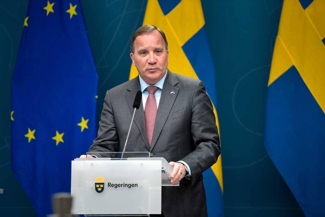 Statsminister Stefan Löfven (S) på onsdagens pressträff.