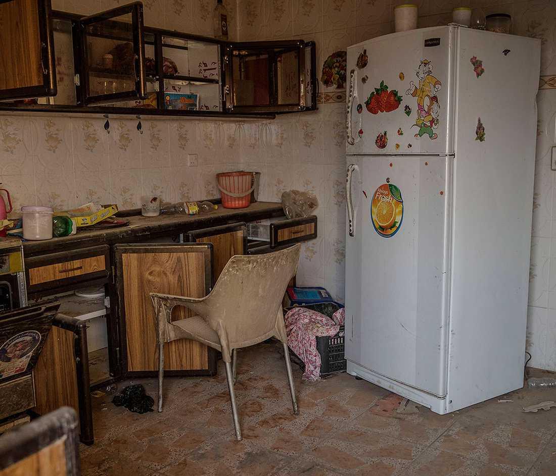 Ett kök i ett hus där IS-terrorister bott.