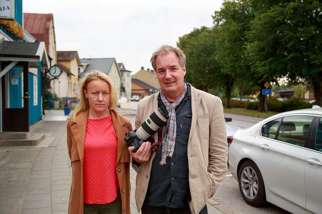 Aftonbladets reporter Susanna Nygren och fotograf Krister Hansson på plats i Vittsjö.