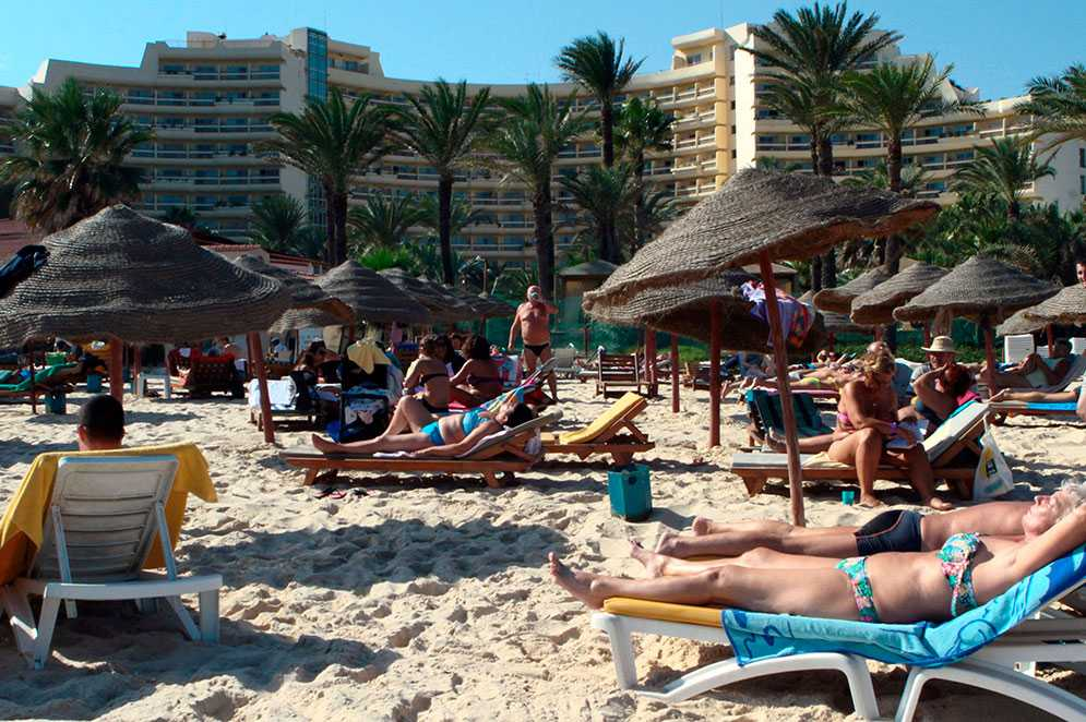 Arkivbild från stranden i Sousse, 2014.