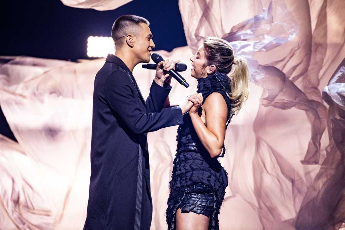 Hanna Ferm och Liamoo i Melodifestivalen 2019.