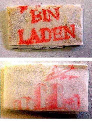 Heroinpåse med 11 septemberteckning.
