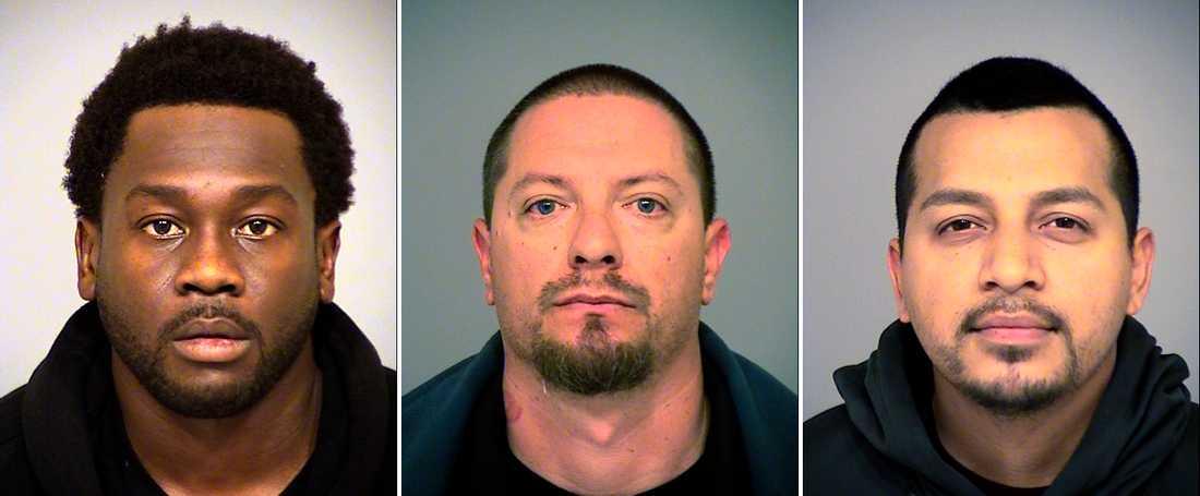 De tre misstänkta avokadotjuvarna; Rahim Leblanc, 30, Joseph Valenzuela, 38, och Carlos Chavez, 28.