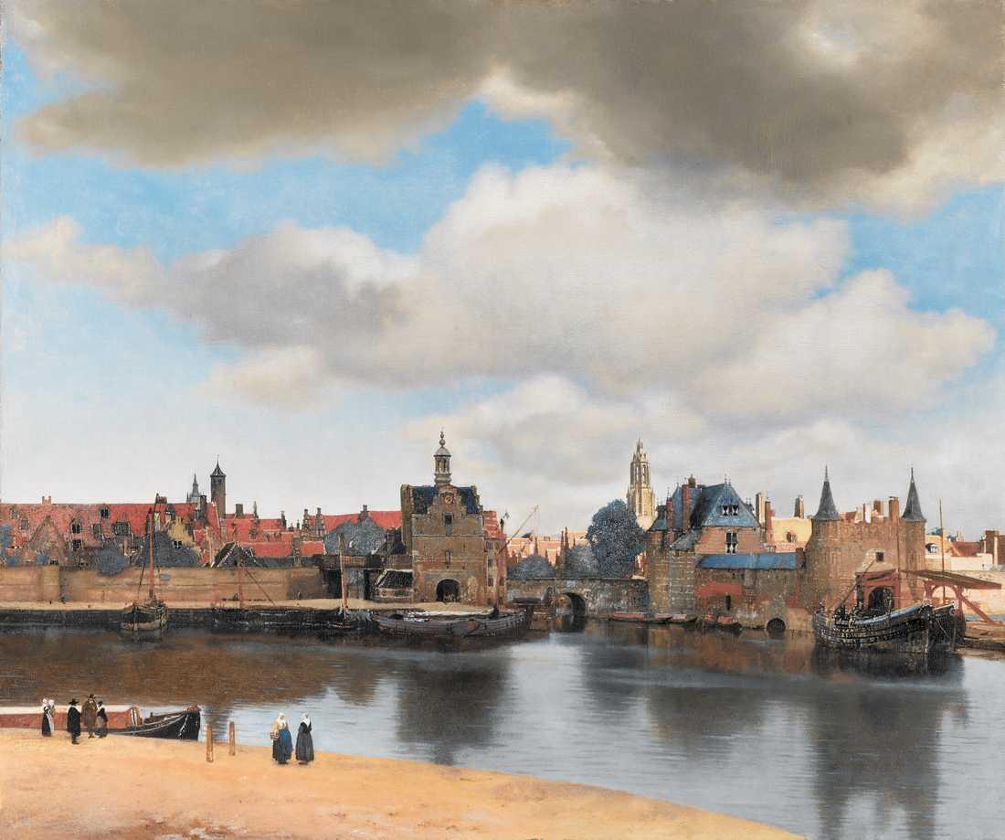 """När målade Vermeer sin """"Vy över Delft""""? Svaret kan finnas i skyn."""