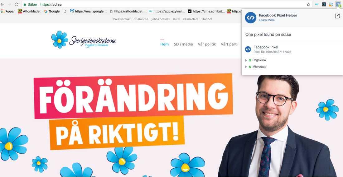 Bilden visar att Sverigedemokraterna.se har en Facebook-pixel på sin sida.