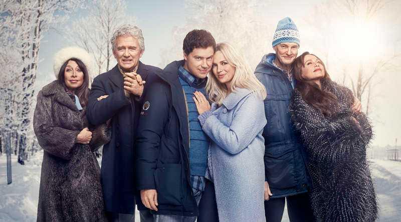"Illeana Douglas, Patrick Duffy, Greg Poehler, Josephine Bornebusch, Claes Månsson och Lena Olin i ""Welcome to Sweden""."