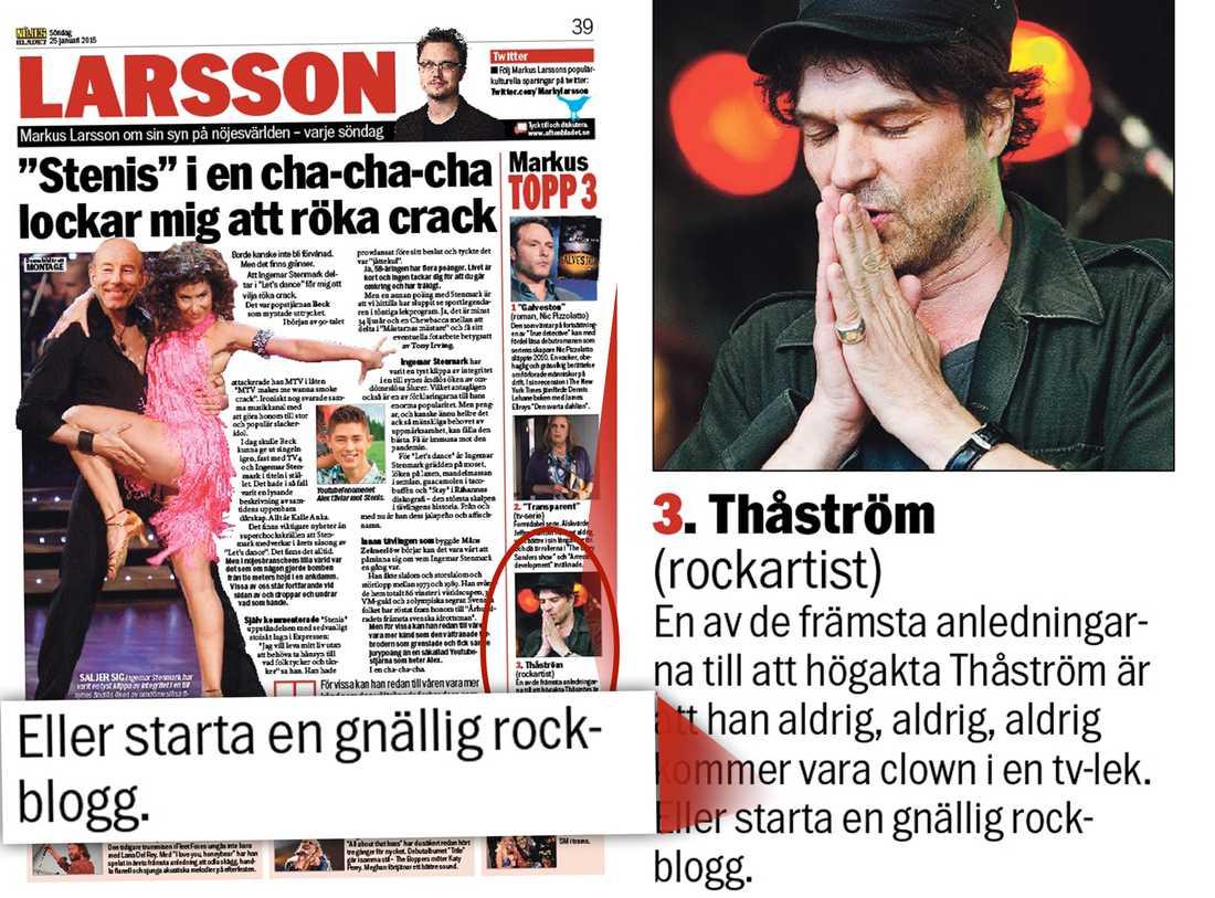 Här är orden som fick Ulf Lundell att koka, från Larssons söndagssida i Aftonbladet 25/1-2014.