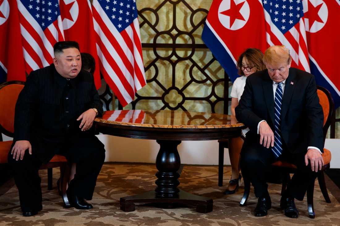 Kim Jong-un och Donald Trump under onsdagen.