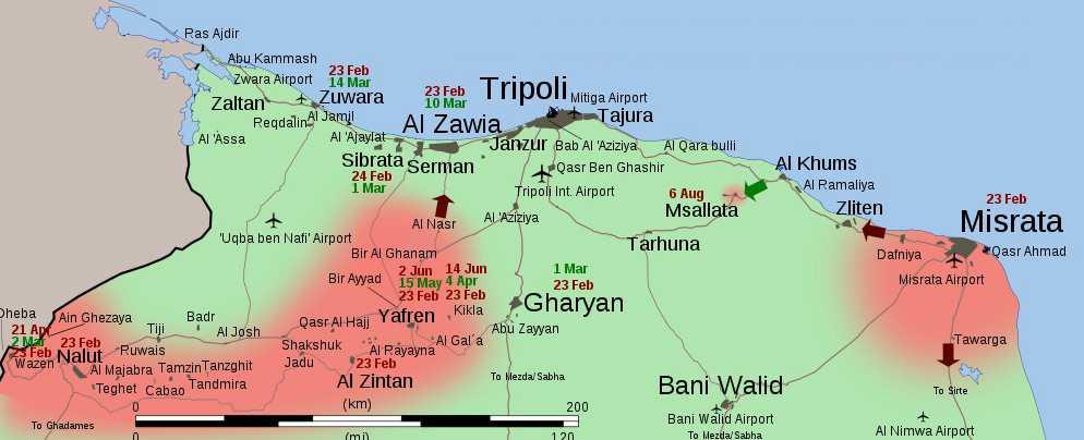 Rebellernas området i rött och regimens i grönt.