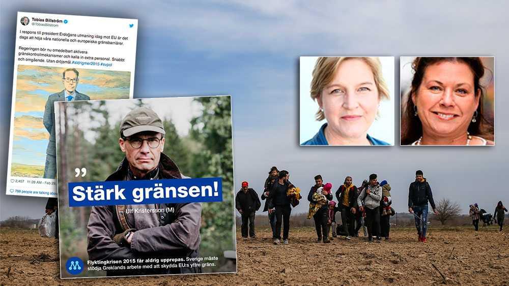 Både Tobias Billströms tweet och bilden på Ulf Kristersson i jaktkläder signalerar att det absolut viktigaste för dem är att till varje pris hindra flyktingar från att ta sig hit. Det är ovärdigt, skriver Karin Karlsbro och Tina Acketoft.
