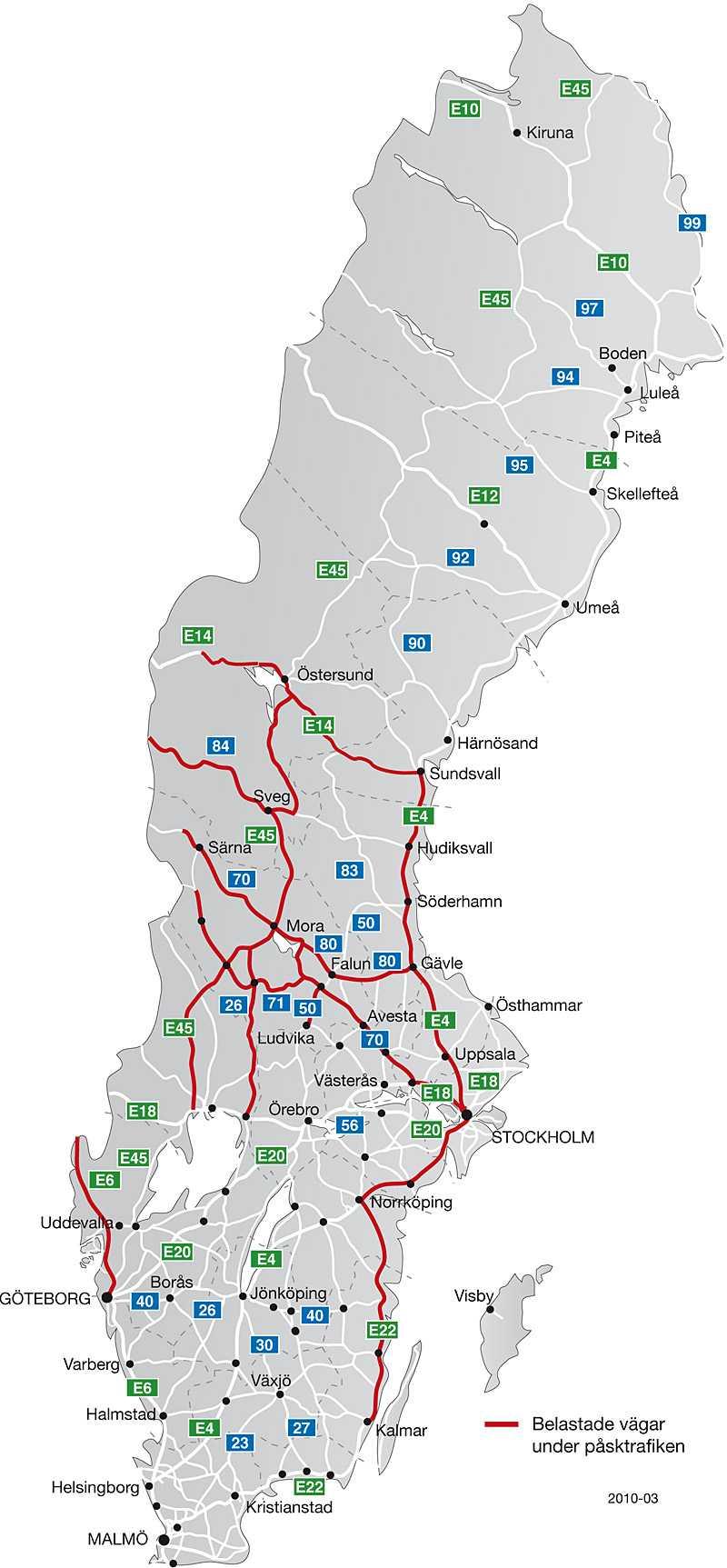 De röda vägarna är de mest belastade under påsken. Klicka för större karta!