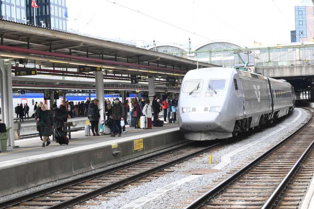 Passagerare vid Stockholms centralstation. Arkivbild.