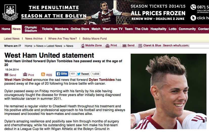 Skärmdump från West Hams hemsida.