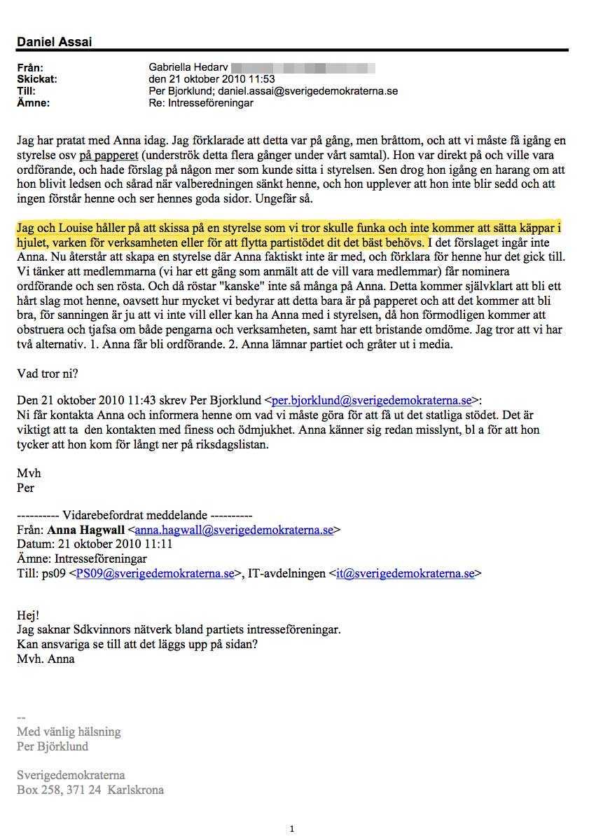 """4. Målet – pengarna Interna mejlkonversationer tydliggör att Sverigedemokraternas syfte var att använda pengarna till annat än kvinnofrämjande verksamhet. I ett mejl skriver exempelvis Gabriella Hedarv, som då jobbade på kansliet: """"Jag och Louise (Erixson, reds anm) håller på att skissa på en styrelse som vi tror skulle funka och inte kommer att sätta käppar i hjulet, varken för verksamheten eller för att flytta partistödet dit det bäst behövs""""."""