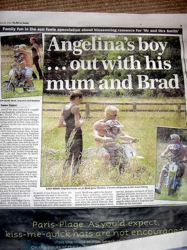 ...OCH PITT KÖR JOLIES SON PÅ MC I senaste numret av tidningen The Mail on Sunday kör Brad runt med Jolies son Maddox, 4, på motorcykel.