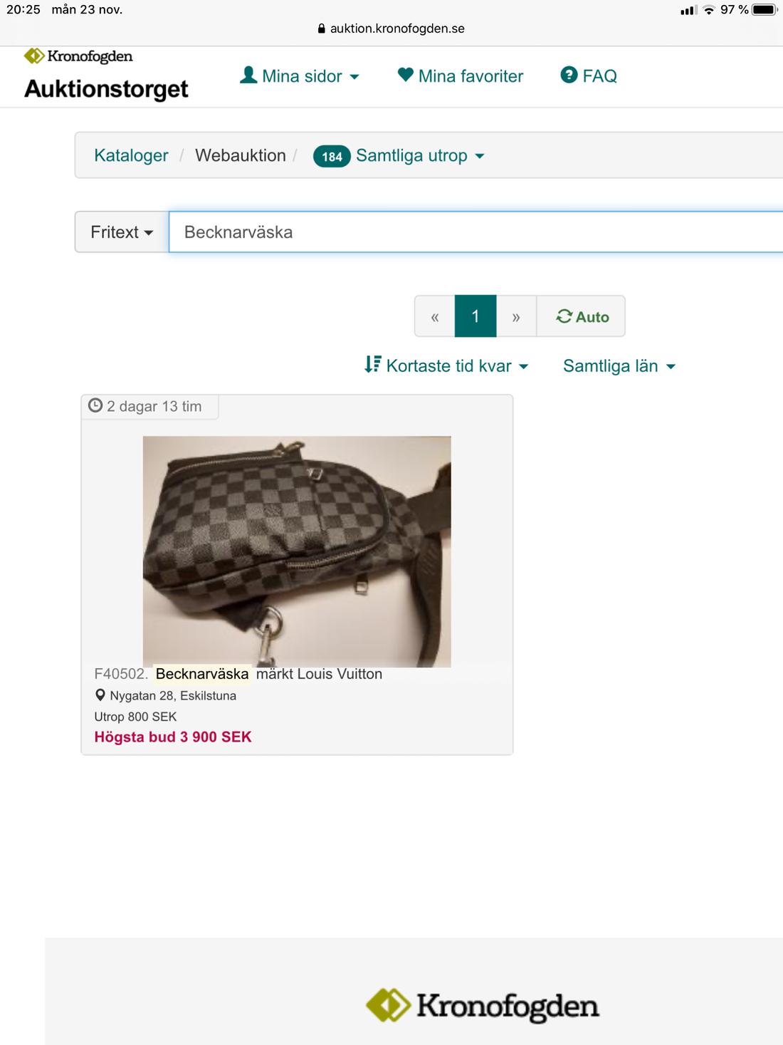 """Skärmdump från Kronofogdens hemsida när de auktionerade ut """"becknarväskan""""."""
