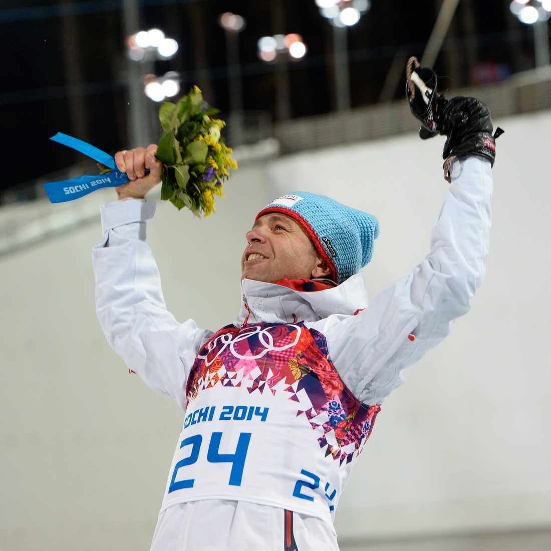 Björndalen efter OS-guld 2014.