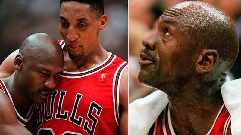 Michael Jordan och Scottie Pippen under game 5 mot Utah Jazz 1997.