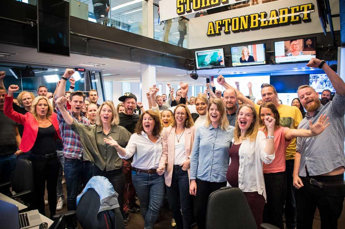 Aftonbladets redaktion efter rapporten från MMS, en rapport som visar att Aftonbladet är det kommersiella mediehus som når flest tittare i Sverige med onlinevideo.