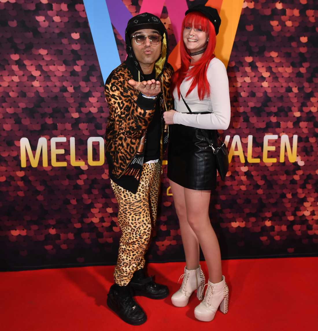 Sean Banan med nya kärleken Gina på Melodifestivalens efterfest på Berns i Stockholm 2020