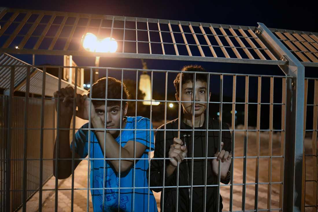Ali Reza Jamadi, 15 och Mohammed Reza, 14, riskerar sina liv för att fly flyktinglägret på Lesbos.
