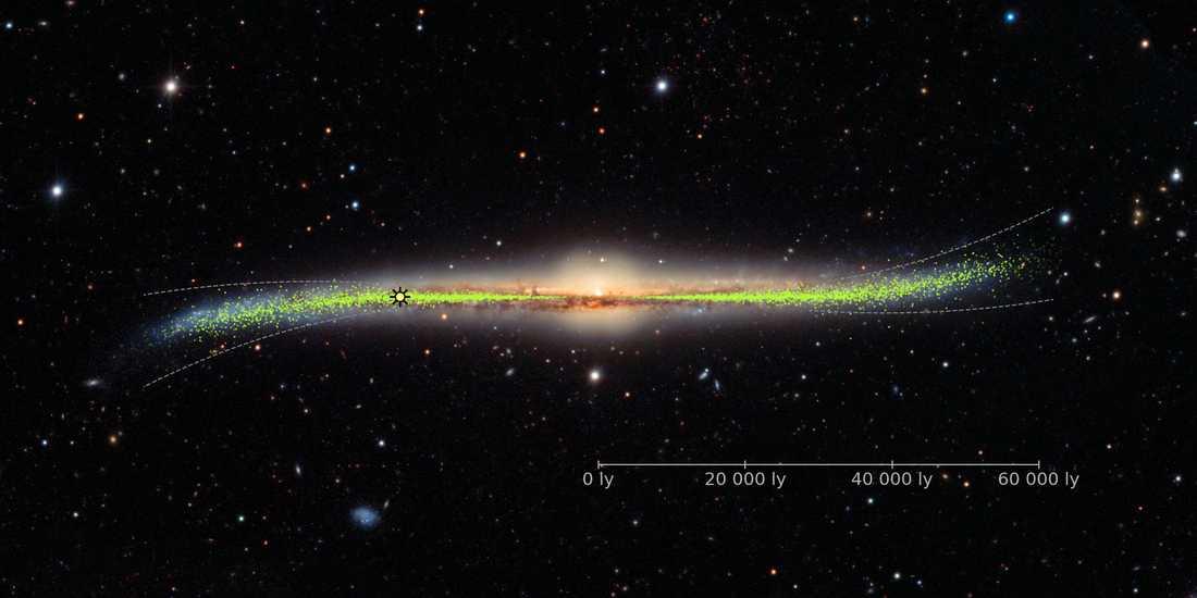 Kartläggningen av Vintergatan visar att vi lever i en förvrängd värld. Vår egen galax är nämligen böjd i en S-liknande form. Vårt eget solsystem, med jorden och alla planeter, ligger en bit bort från galaxens mitt. En position som på bilden är märkt med en liten sol. Längdskalan visar antal ljusår.