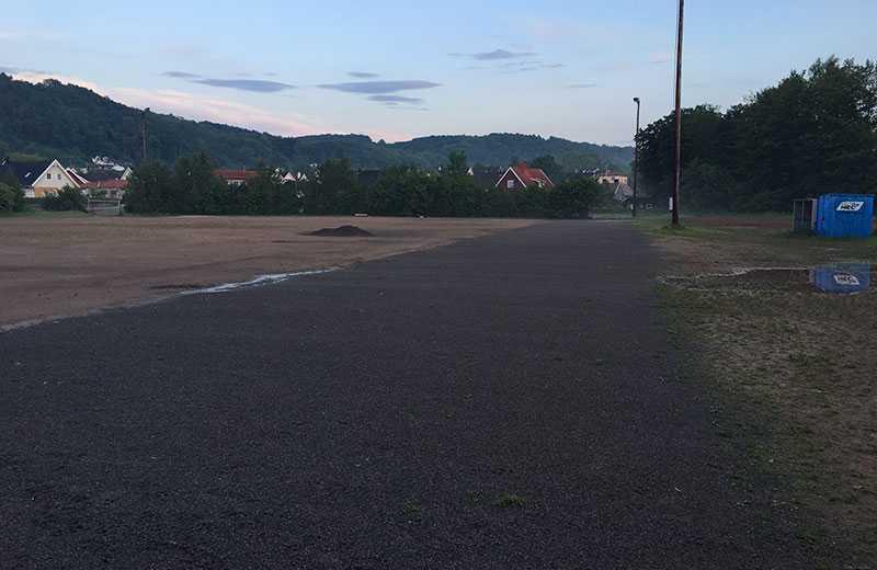 Friidrottsbanan där Båstads Gifs friidrottssektion nu får hålla till i stället.