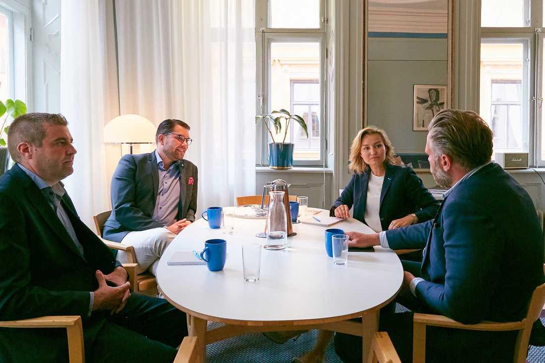 SD-ledaren Jimmie Åkesson och KD-ledaren Ebba Busch Thor under den omdiskuterade lunchen.