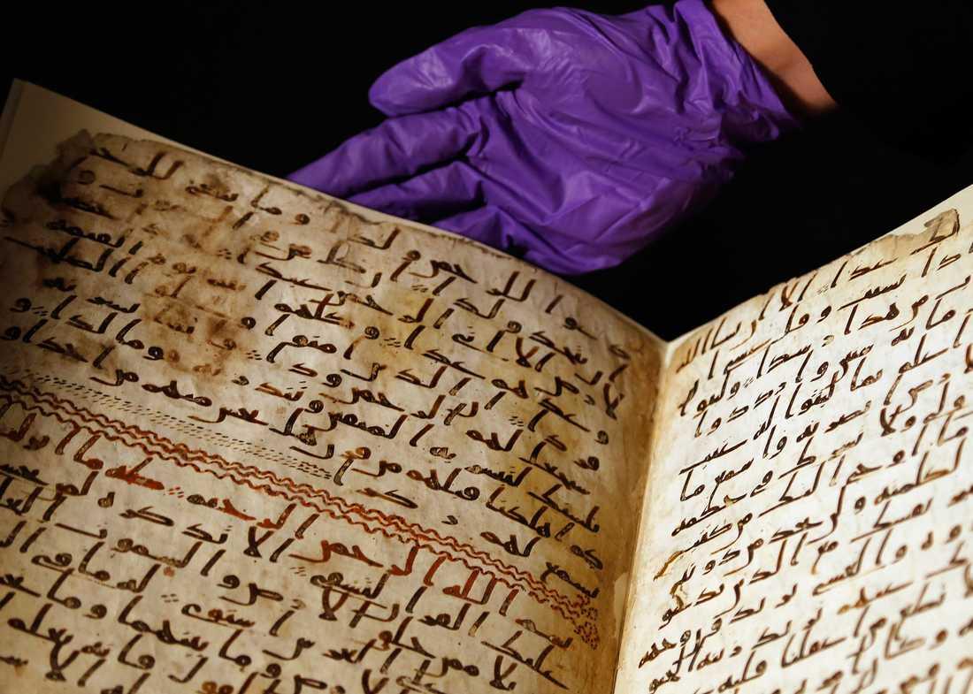 Urkund Koranfragmenten som finns på universitetet i Birmingham är sannolikt från mellan år 568 och 645. Foto: Frank Augstein