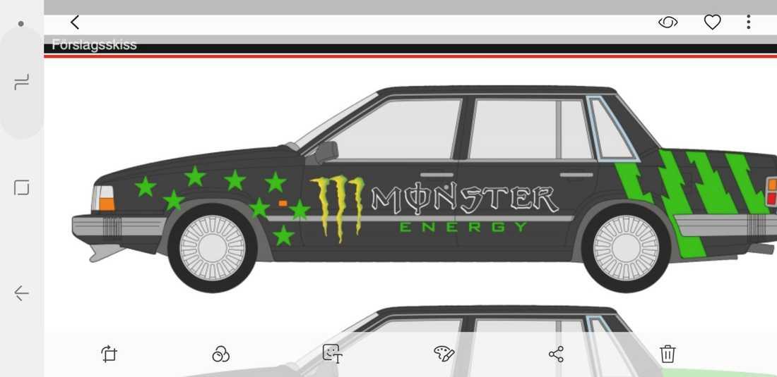 Så här vill Kevin att bilen ska se ut – med tydligt Monster-tema.