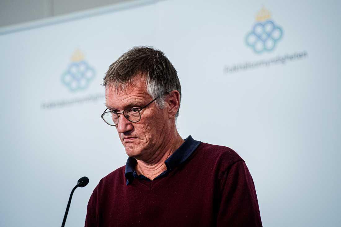 Statsepidemiolog Anders Tegnell under Folkhälsomyndighetens dagliga presskonferens.