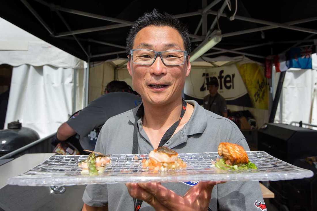 2011 års vinnare  Kim Fleck i tysk-österrikiska Goli & Chef Partie med lagets fiskrätt.