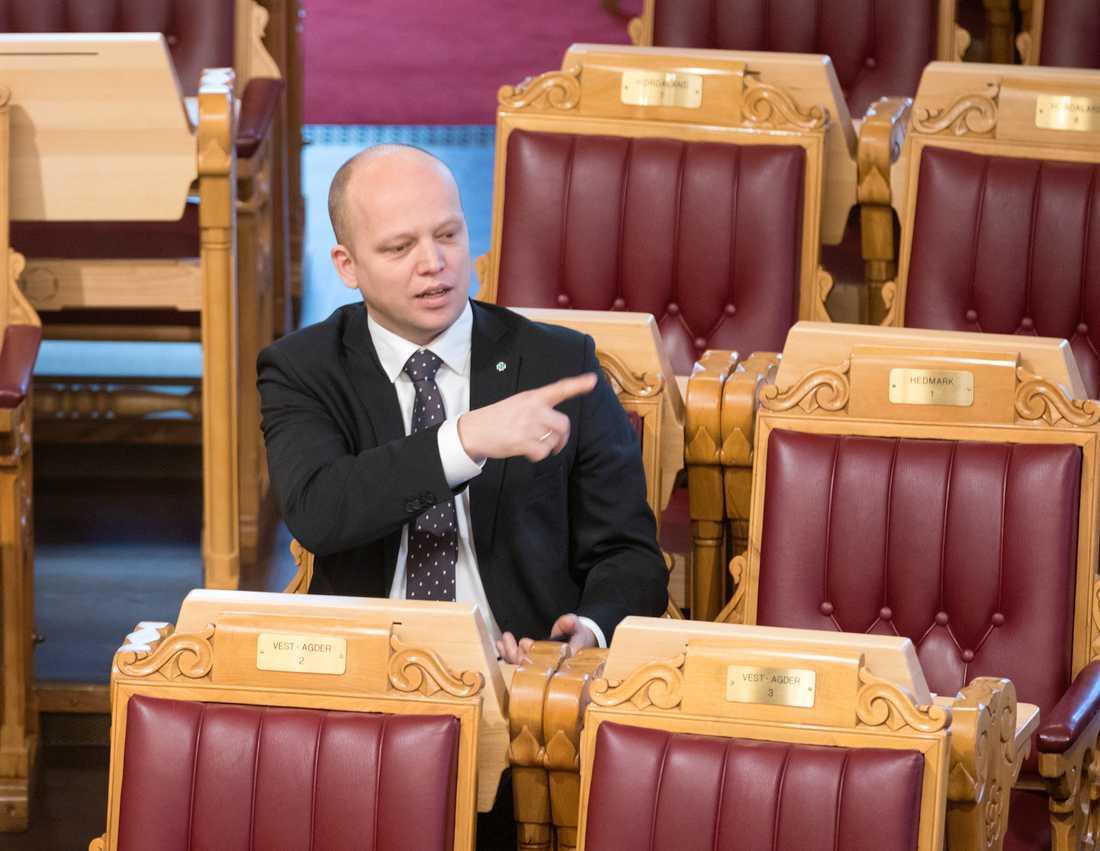 Senterpartiets partiledare Trygve Slagsvold Vedum vid en debatt i stortinget. Arkivbild.