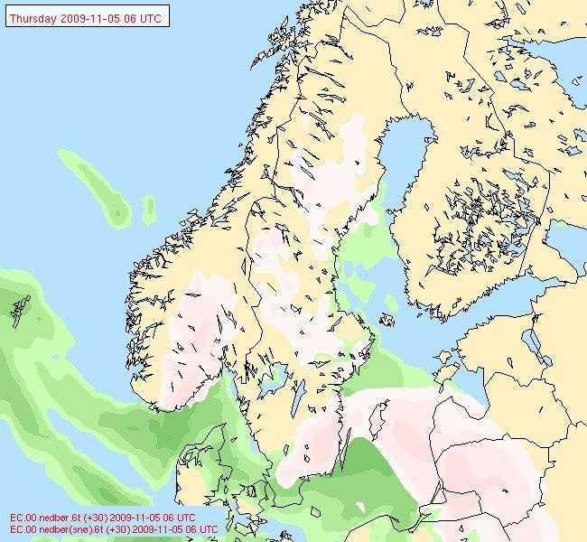 Torsdag klockan 07 Det vitrosa på kartan visar snö och det gröna regn. Småland drabbas värst av snöfallet.