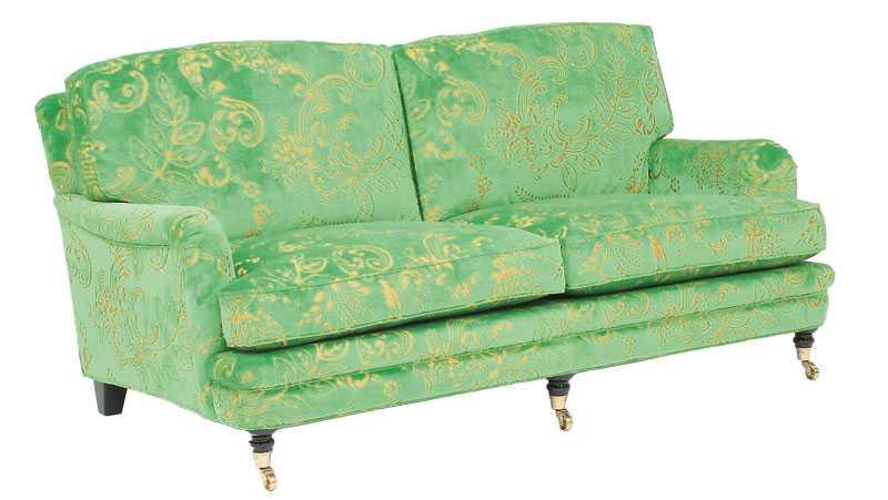Helt oemotståndlig grönmönstrad sammetssoffa från Norell möbler 37000 kr.