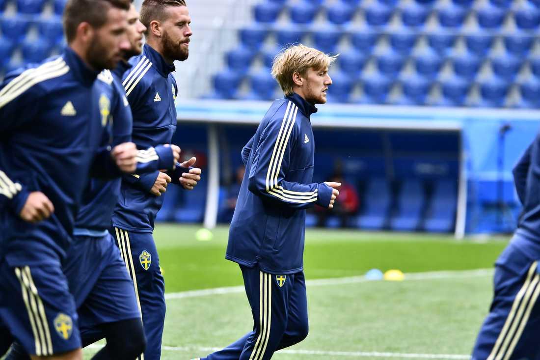 Emil Forsberg under måndagens träning.