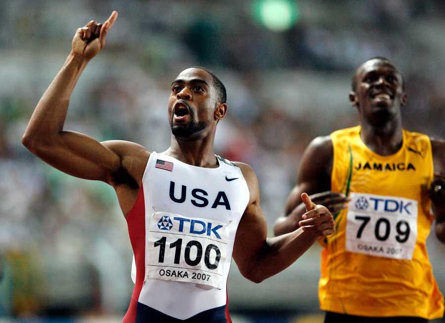 Gays största framgång är hans storslam i VM 2007, Osaka. Här jublar han efter guldet på 200 meter. Han vann även 100 meter och...