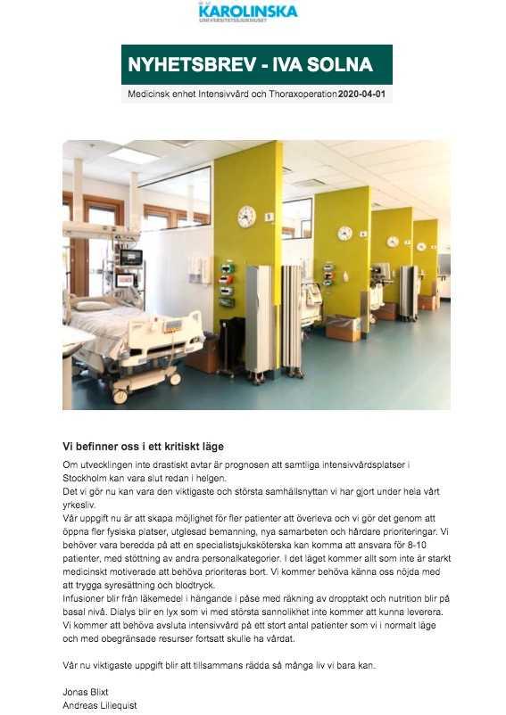 Det interna nyhetsbrevet gick ut till personalen på intensivvårdsavdelningen i Solna den 1 april.