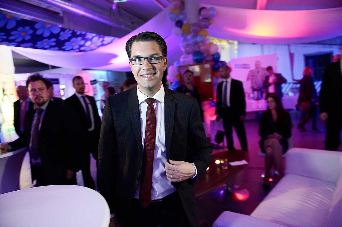 Jimmie Åkesson log under Sverigedemokraternas valvaka i natt.