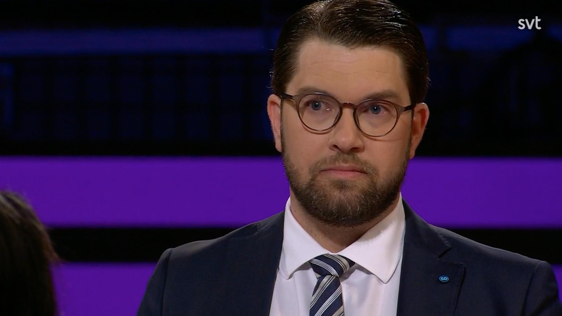 Jimmie Åkesson , partiledarna Sverigedemokraterna.