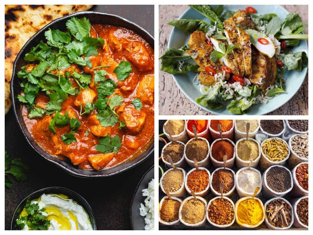 Ingefära, chili, vitlök gurkmeja, nejlika och kardemumma är bland de vanligaste kryddorna inom indisk matlagning.